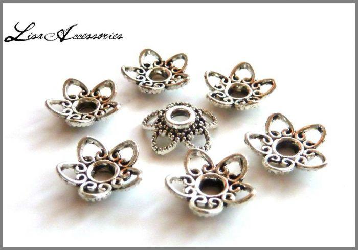Capacele floare argint tibetan