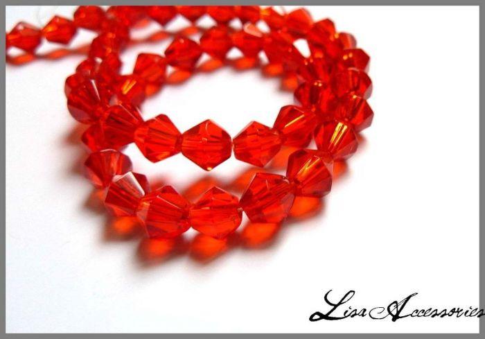 Cristale biconice rosii 5 mm