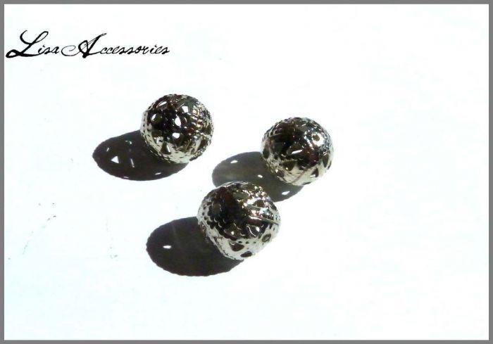 Margele metalice filigranate argintii 11 mm